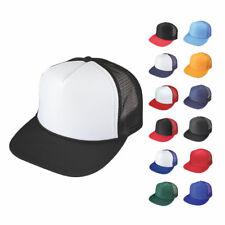 1 DOZEN RETRO FLAT BILL BLANK MESH TRUCKER SNAPBACK HAT HATS CAP CAPS WHOLESALE