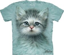 Big Face Blue Eyed Kitten  T-Shirt by The Mountain. Giant Head Cat Sizes S-5XL