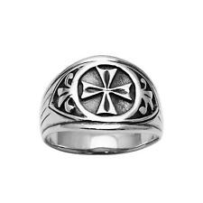 925 Sterling Silver Maltese Iron Cross Men's Ring Antique-Oxidize Finish