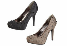 LADIES ANNE MICHELLE STUDDED SPIKEY HIGH HEEL DETAIL STILETTO COURT SHOES L2236
