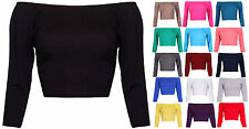 Womens 3/4 Sleeve Ladies Stretch Off Shoulder Cropped Short T-Shirt Belly Top