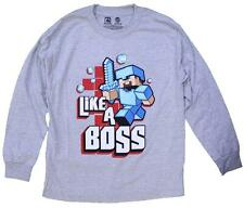 OFFICIAL LICENSED MINECRAFT LIKE A BOSS (GREY) LONG SLEEVE YOUTH SHIRT
