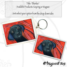 "Black Labrador Keyring or Magnet ""Blankie"" Puppy Dog Canine Pet Animal VK"
