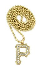 """ICED OUT WIZ KHALIFA PITTSBURGT """"P"""" PENDANT 3mm/27"""" BALL CHAIN NECKLACE RC159"""