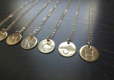 Initial 14K Gold Filled Initial Disc Pendant Necklace Gold Initial Dog Tag