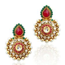 Kundan with colourful stones pearl polki Indian ethnic vintage cute earring v171