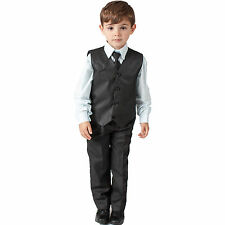 Boys Suits 4 Piece Pinstripe Waistcoat Suit Wedding Page Boy Baby Formal Party