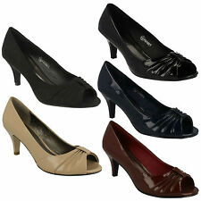 SALE - LADIES SPOT ON SLIP ON PEEP TOE COURT SHOES F10047 IN A RANGE OF COLOURS