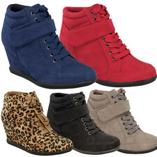 Fashion Women's Lace Up Velcro High Top Ankle Wedge Heels Sneaker Boots Shoes