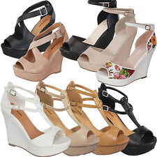 NEW Women Strappy Ankle Wedge Party Sandal~High Heel Open Toe Platform Shoe Pump