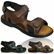 Mens Leather Insole Velcro MOZA-X Casual Strappy Strapped Sandals Shoes Size