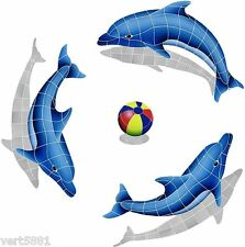 Mosaic Tile Dolphin Trio Beach Ball for Swimming Pool or Wall  Shadow Designer