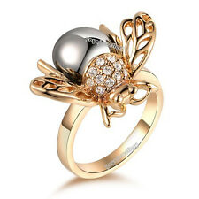 14k gold plated adorable flying Bee lucky gift ring R585