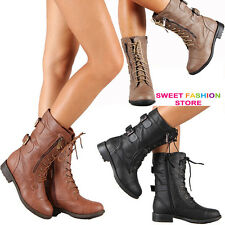 New Women Combat Riding Boot Mid Calf Military Lace Up with Buckle & Side Zipper