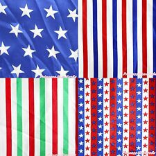 America Flag Red White Blue Star Green Stripe Sew Crafting Satin Fabric 1 Yard