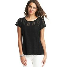 NWT ANN TAYLOR LOFT Black Sheer Pleated Stunning Jewel Neck S/S Lace T Shirt $59