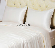 100% Silk Pillowcase 19 Momme Charmeuse Ivory Standard Queen King On Sale!