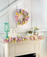 PASTEL GINGHAM Fabric Spring WREATH GARLAND Wall Mantle EASTER Table Country New