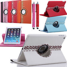 Diamond Pen+Colorful Crystal 360 Rotating Leather Case Cover For iPad Air iPad 5
