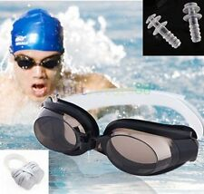 Nose Clip+Ear Plug + Anti fog UV Swimming Swim Goggle Adjustable Glasses Eyewear