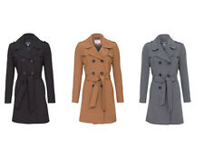 De La Creme Womens Trench Mac Double Breasted Coat Ladies Belted Fashion Jacket