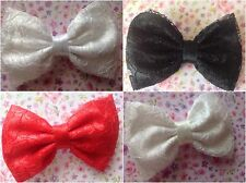 """♥SMALL HANDMADE 3"""" SATIN & FLORAL LACE FABRIC BOW HAIR CLIP 50'S VINTAGE STYLE"""
