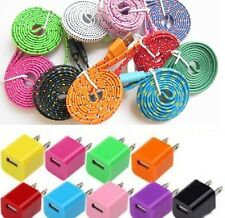 Flat Braid Fabric USB Charger Data Cable + USA Plug Wall for iPhone 5 5S 5C A