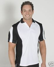 Mens Adult Spliced Contrast Colour Polo Top Shirt Quick Dry | Size S-5XL