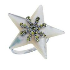 Sterling Silver Star Mother of Pearl w/ Colored CZ Stones Ring    #rzs22