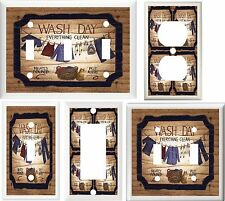 LAUNDRY ROOM CLOTHES LINE & BASKET HOME DECOR LIGHT SWITCH OR OUTLET COVER V218