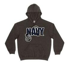 Black Navy Anchor Pullover/Hoodie - Made Of Cotton/Polyester/Running