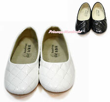 White Black Enamel Leather Diamond Plaid Girl School Casual Slip On Shoes 898