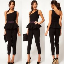 Womens sexy temperament black Single shoulder jumpsuit piece pants waist RX422