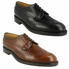 MENS LOAKE LACE UP FORMAL FULL BROGUE LEATHER SMART OCCASION SHOES SIZE BRAEMAR