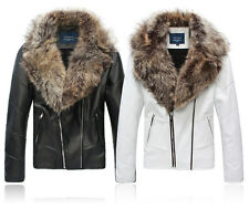 Men's High Quality  Faux Leather Fur Collar Casual Short Jacket Coat White Black