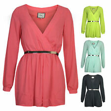 Womens Long Sleeve V Neck Wrap Over Fully Lined Chiffon Belted Party Playsuit