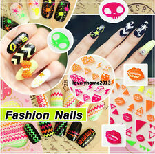 New 3D Fluorescence Colorful Nail Art Stickers Manicure Tips DIY Decoration