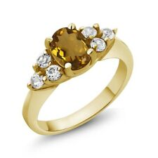 1.24 Ct Oval Whiskey Quartz White Topaz 14K Yellow Gold Ring