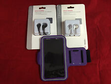 PURPLE RUNNING ARMBAND POUCH & HEADPHONE MIC FOR SAMSUNG GALAXY S4 S3 S4 ACTIVE