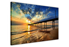 SEA PIER AT SUNRISE CANVAS WALL ART PICTURE PRINTS HOME DECORATION LANDSCAPE