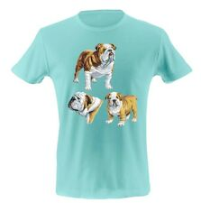 Unisex Funny Graphic T Shirt WHITE & TAN BULL DOG COLLAGE Dogs Animal Tee