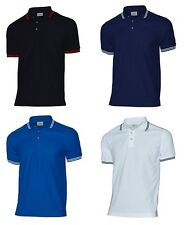 Mens Fashion Stylish Work Tipped Pique Short Sleeve Casual Polo T Shirt XS - 3XL