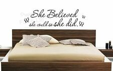 SHE BELIEVED SHE COULD SO SHE DID WALL QUOTE STICKER GIRLS NURSERY BEDROOM DIY