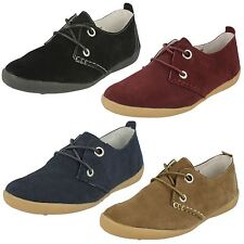 Ladies Down To Earth Flat Casual Shoes / Lace Up / Suede Leather
