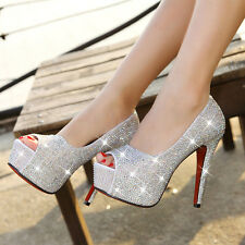 New Platform Pump Open Toe High Heels Crystal Bridal Wedding Party Prom Shoes