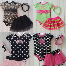 Outfits Sets Girls Baby Newborn Romper Bodysuit+Tutu Skirt+Headband Clothes New
