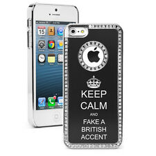 For iPhone 4 4S 5 5S 5c Black Rhinestone Case Keep Calm Fake A British Accent