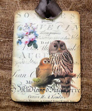 Hang Tags  FRENCH SCRIPT OWLS NATURE TAGS or MAGNET #60  Gift Tags