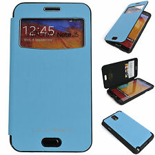 Window View Leather Case Flip Cover Back Bumper Wallet BLUE Galaxy Note3, Note2