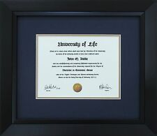 "Black Wood Frame with mats & glass for 8-1/2x11"" Diploma Certificate Document"